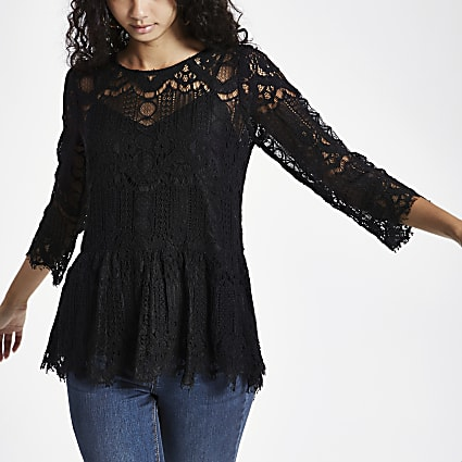 Black sheer lace peplum hem lace top