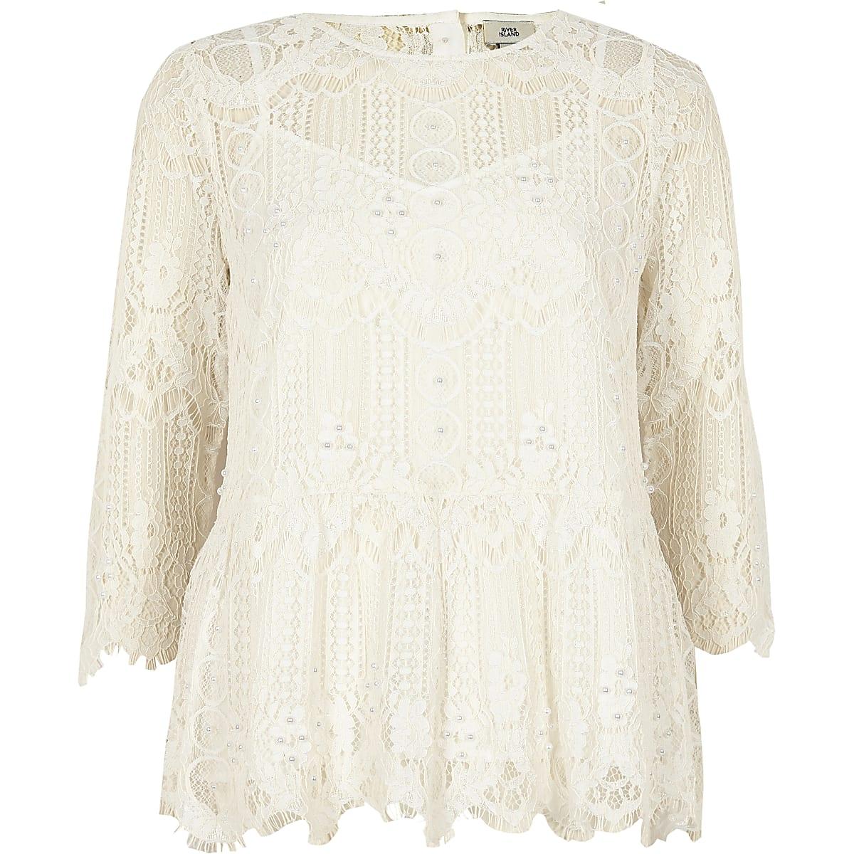 1ff5b32e9b3c6c Cream lace pearl embellished peplum top - Peplum Tops - Tops - women