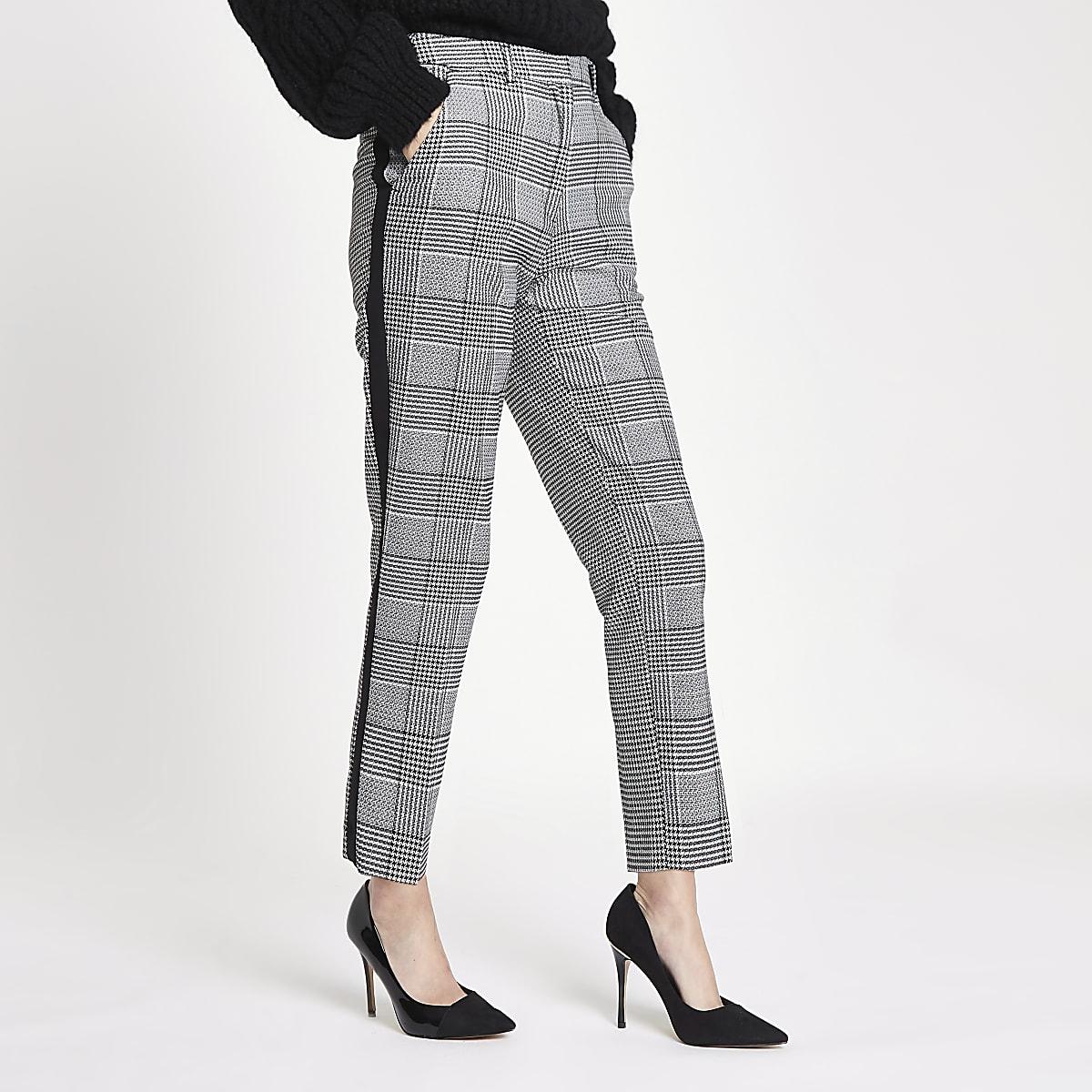Black check straight leg side stripe trousers