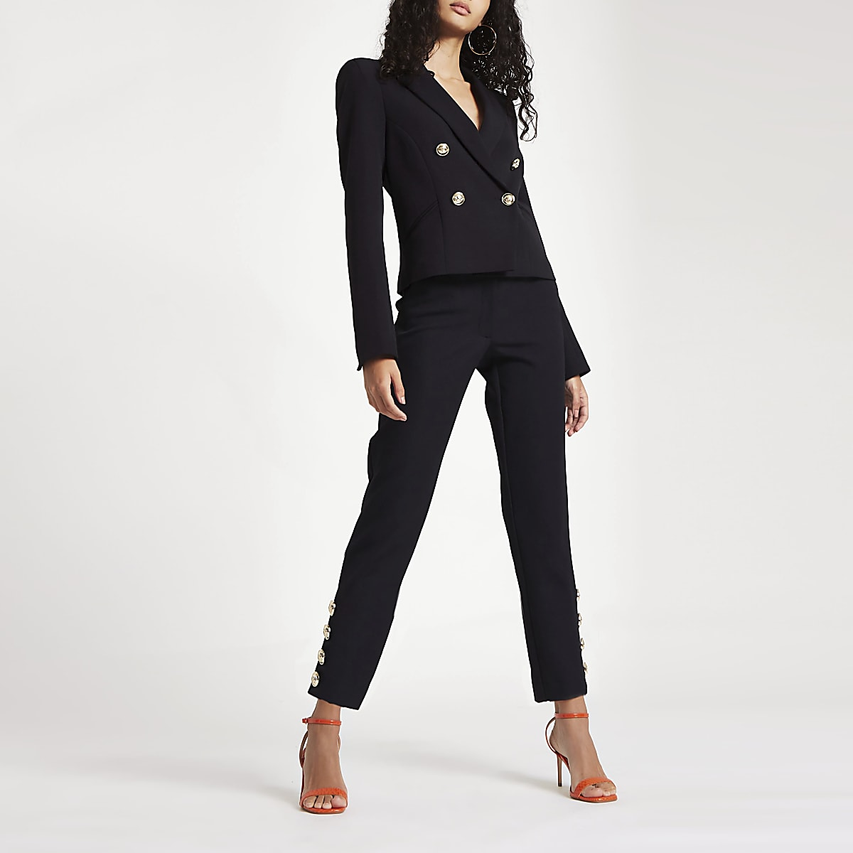 Black straight leg button trim trousers