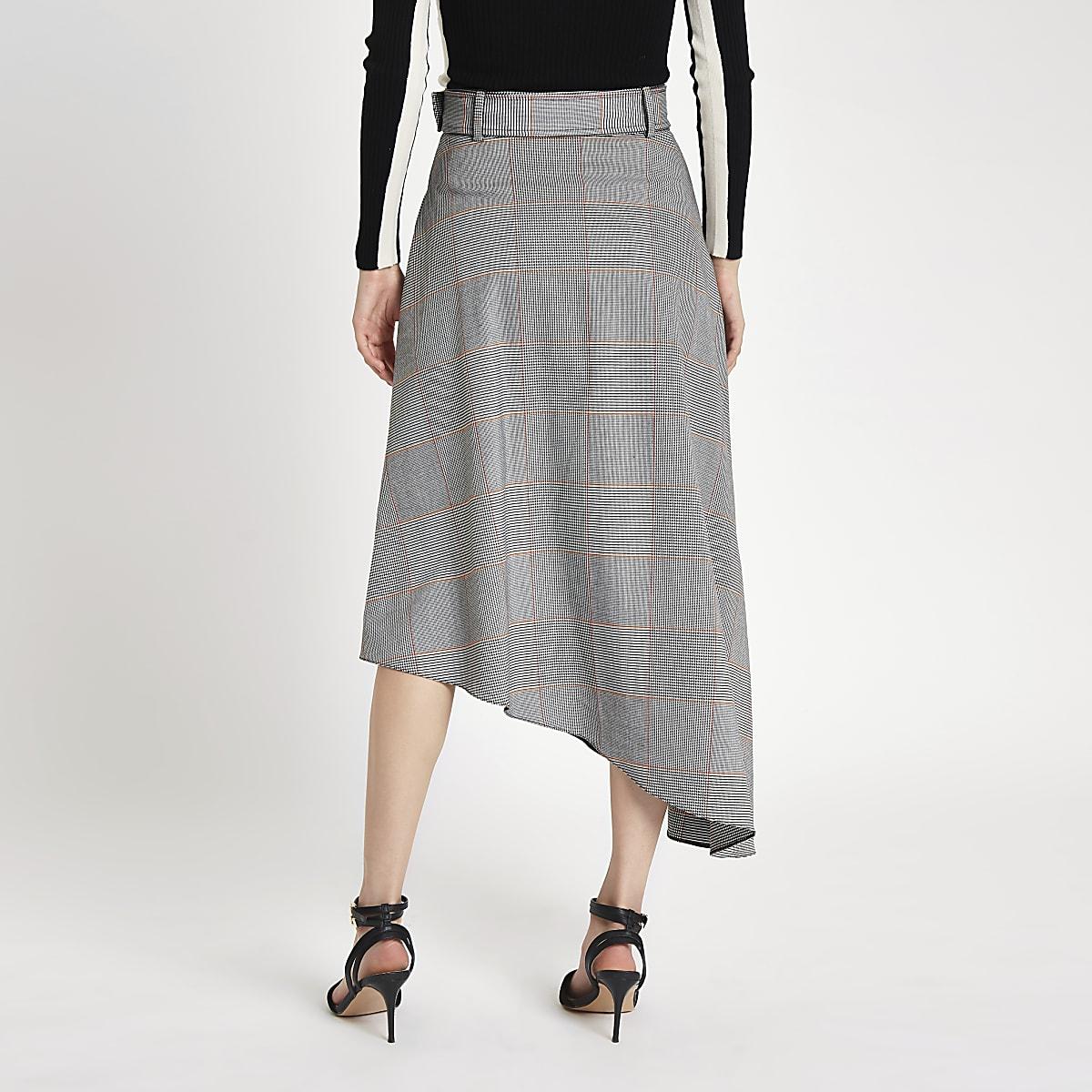 nouveaux styles ff9ca 0f6bf Grey check asymmetric hem midi skirt