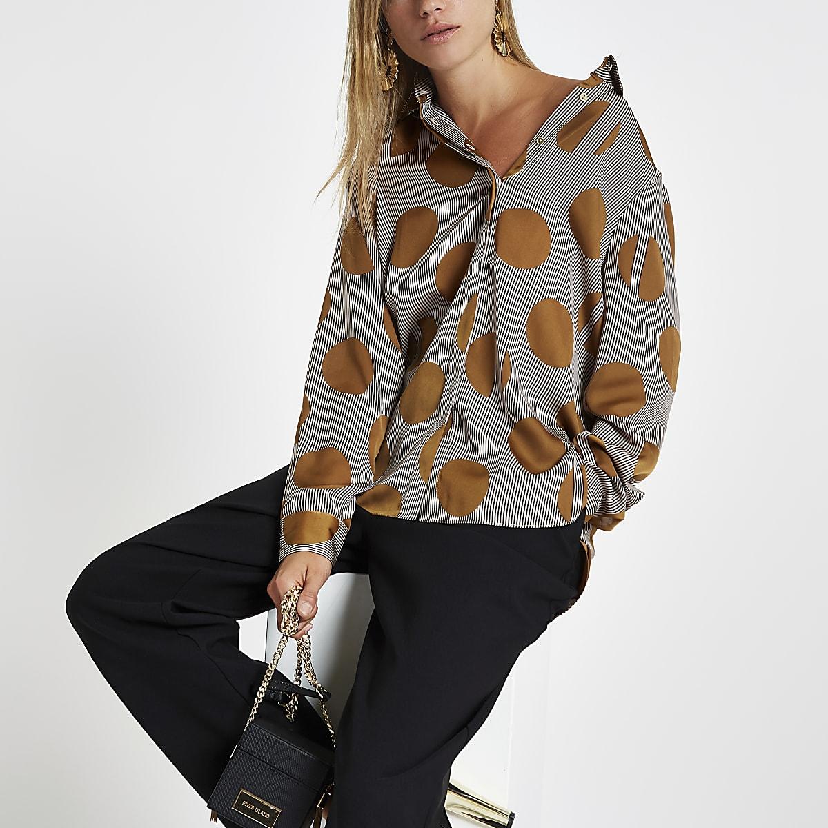 Brown stripe and spot print shirt