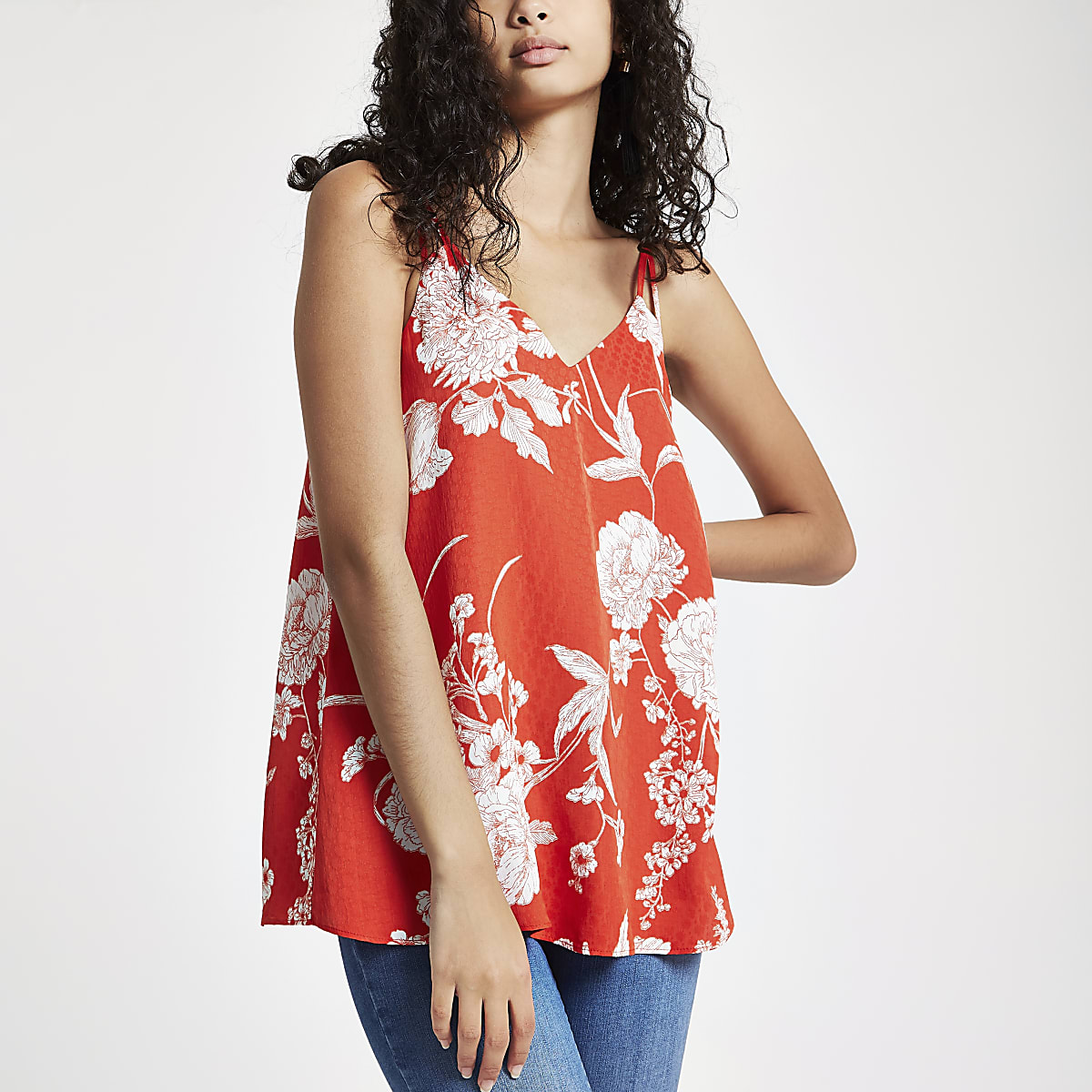 Red floral split strap cami top