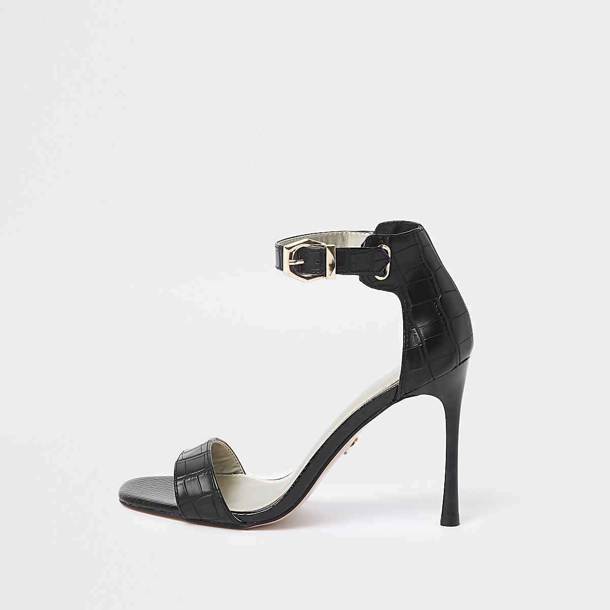 Black croc barely there sandals