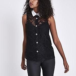 Black lace embellished sleeveless shirt