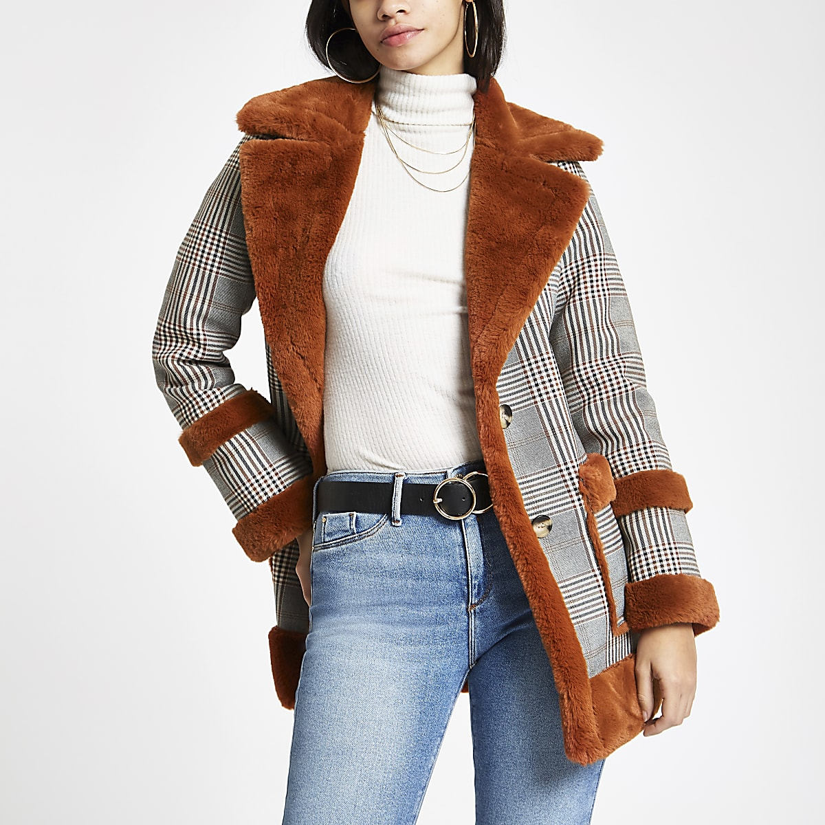 Brown check faux fur trim aviator jacket