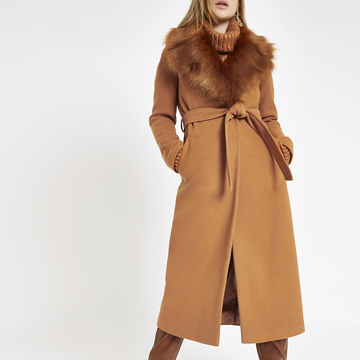 Brown belted faux fur robe coat