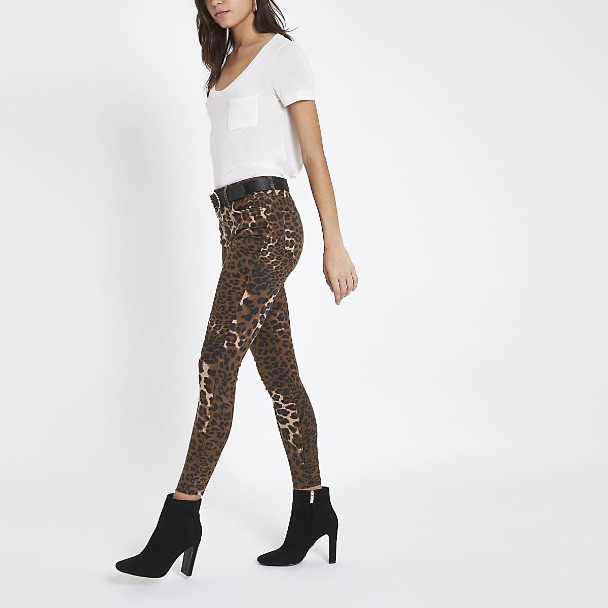 Amelie - Bruine denim skinny jeans met luipaardprint