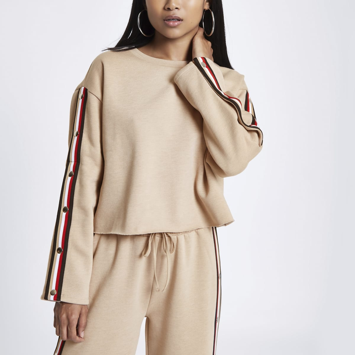 Petite beige tape popper side sweatshirt