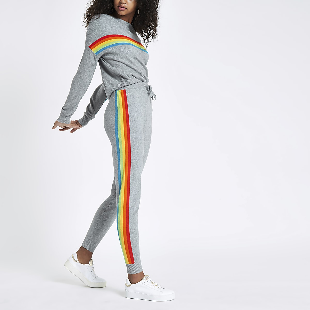 e050ca173cd854 Grey knit rainbow stripe sweatshirt - Jumpers - Knitwear - women