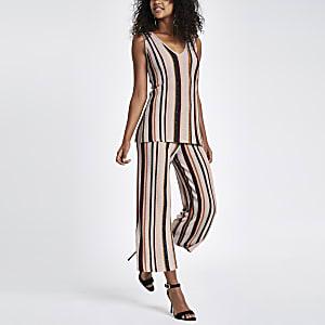 Light pink stripe metallic stitch trousers