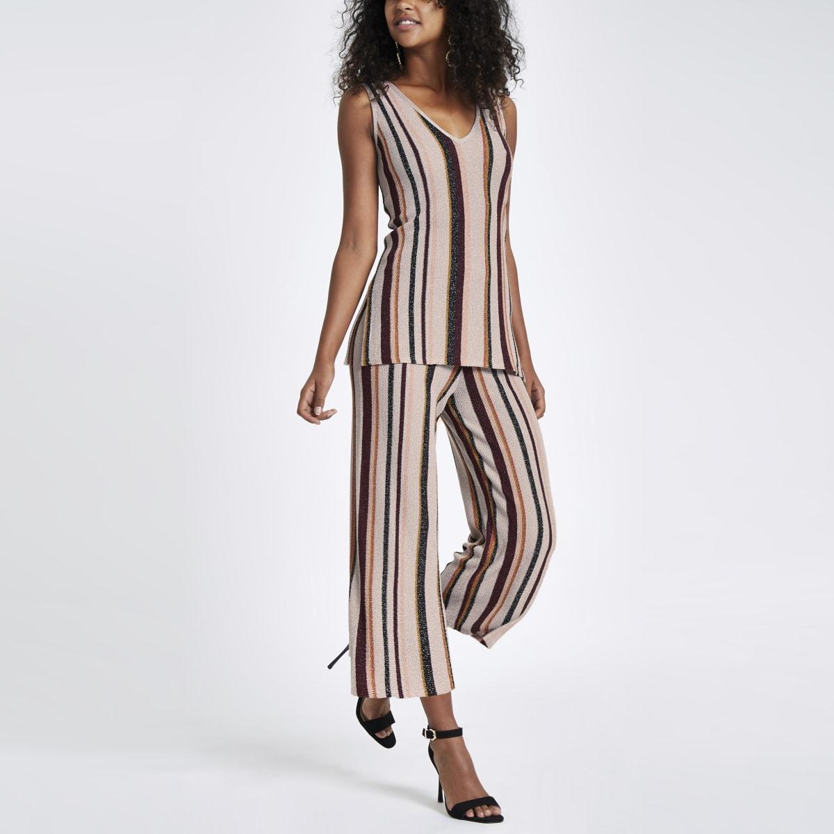 Light pink stripe metallic stitch pants