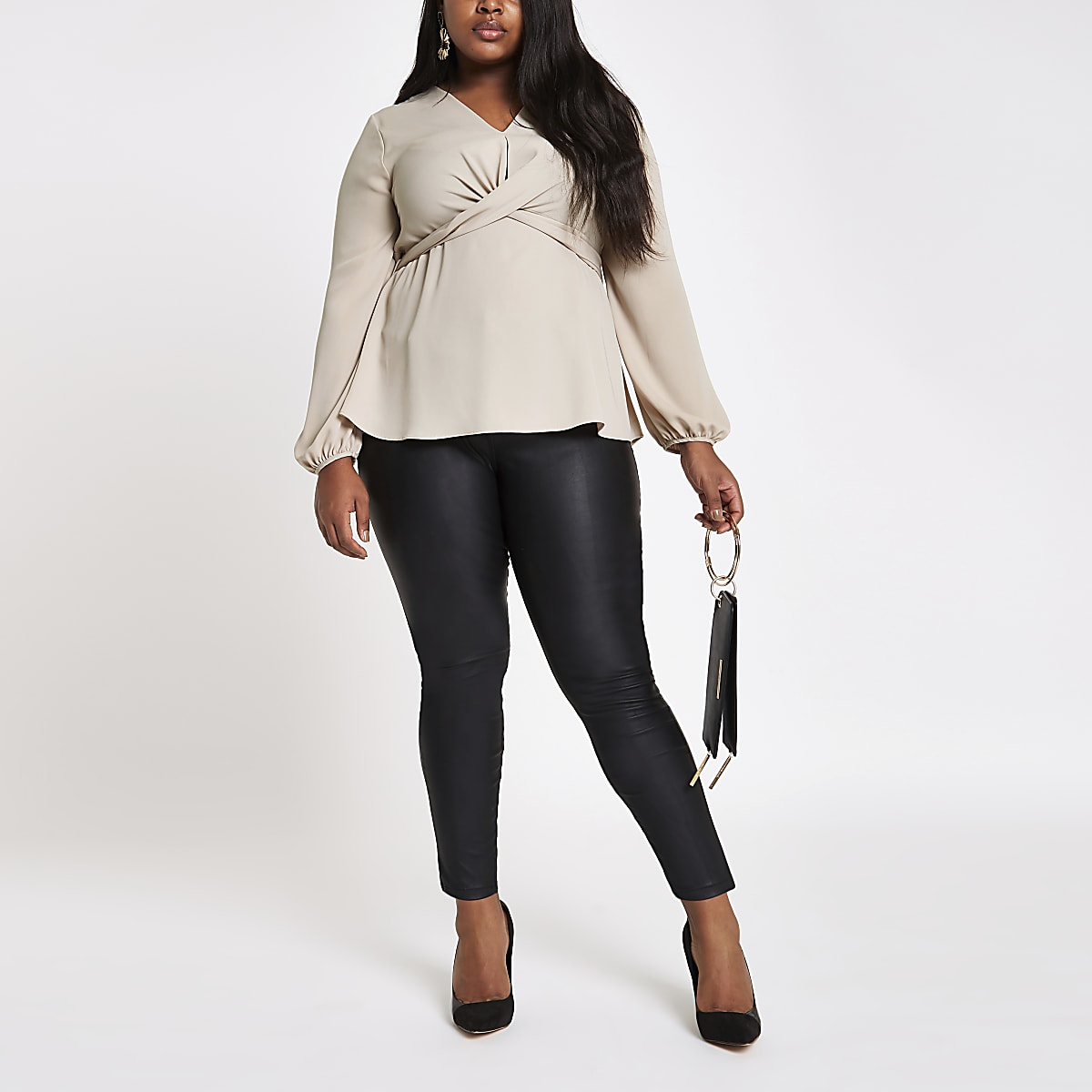 Plus stone twist front long sleeve blouse