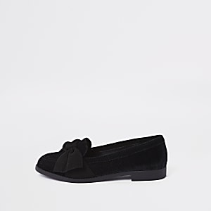 0fc692835a3d Black faux suede bow loafers