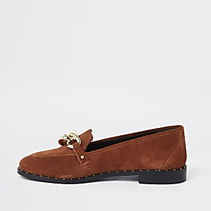 Dark orange leather gold tone chain loafers