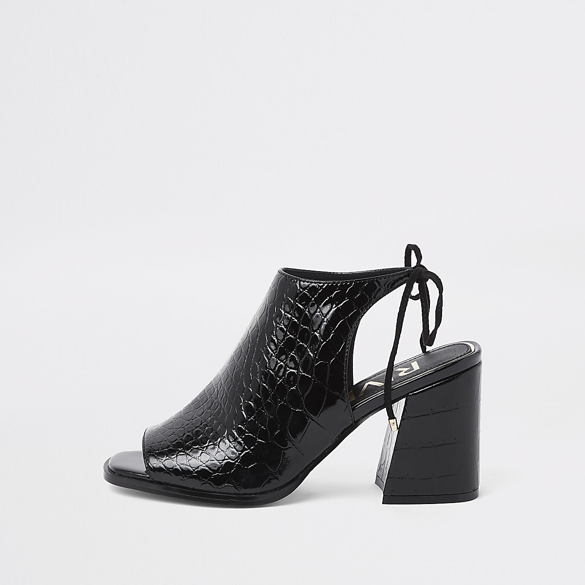 Black croc tie back block heel shoe boots