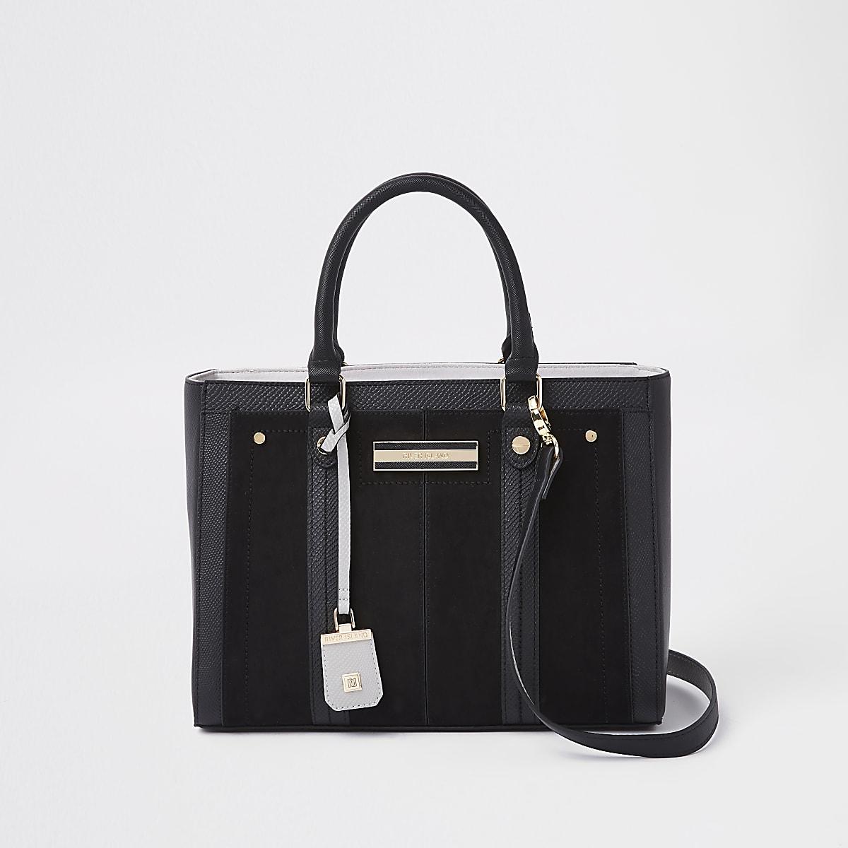Cabas en cuir synthétique noir rectangulaire