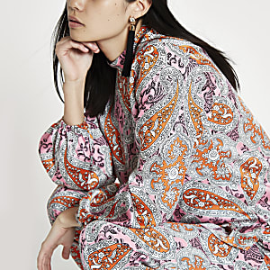 Pink paisley high neck top
