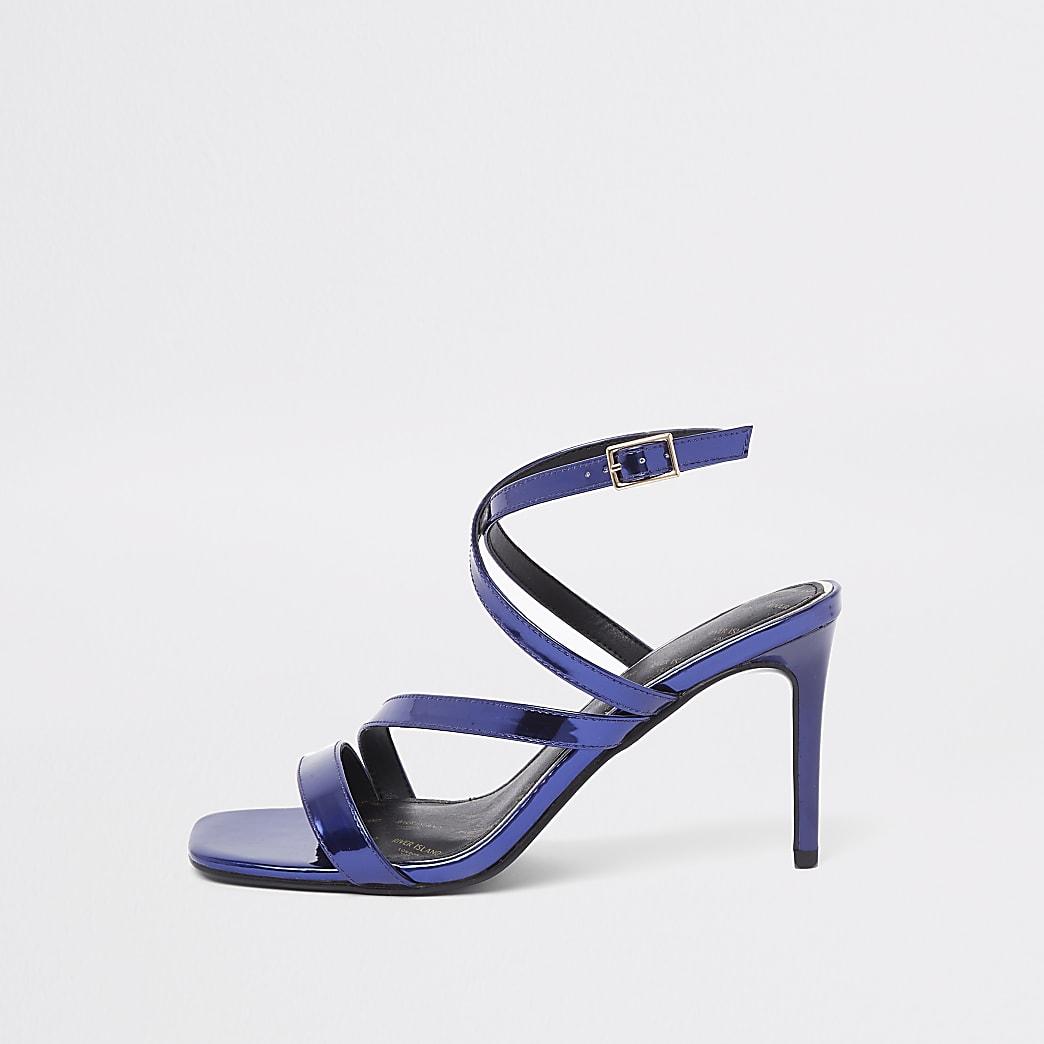 Purple patent asymmetric strappy sandals