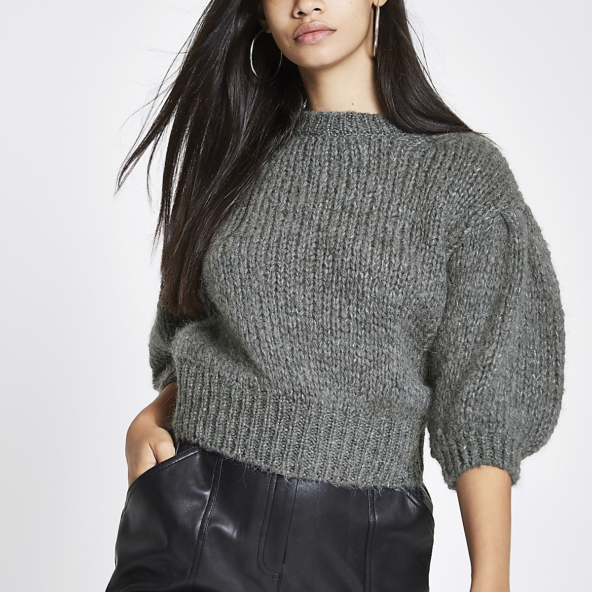 Dark grey knit cropped sweater