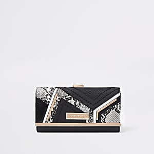 Black snake croc panel cliptop purse