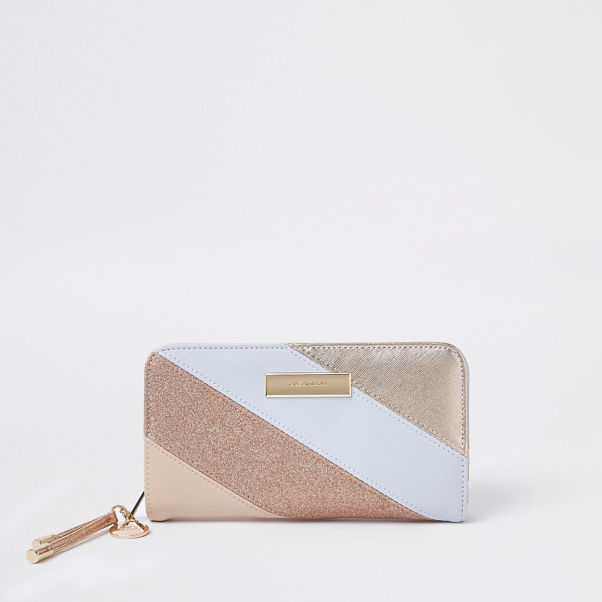 Light blue metallic panel foldout purse
