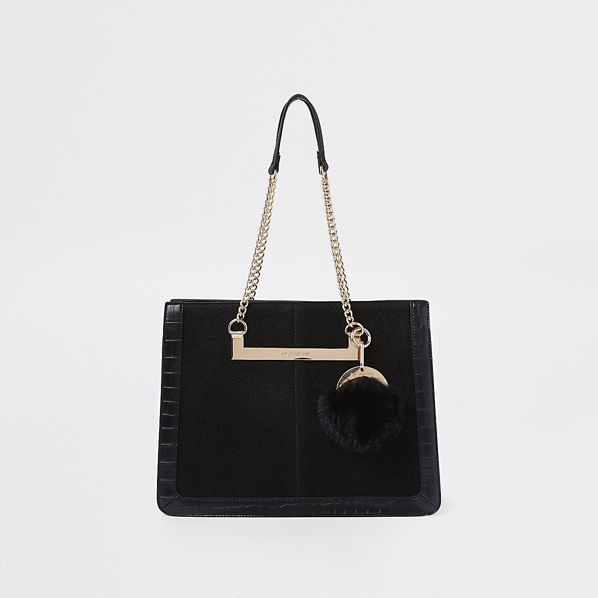 8b8018bac6f1 Black chain handle pom pom tote bag - Shopper   Tote Bags - Bags   Purses -  women