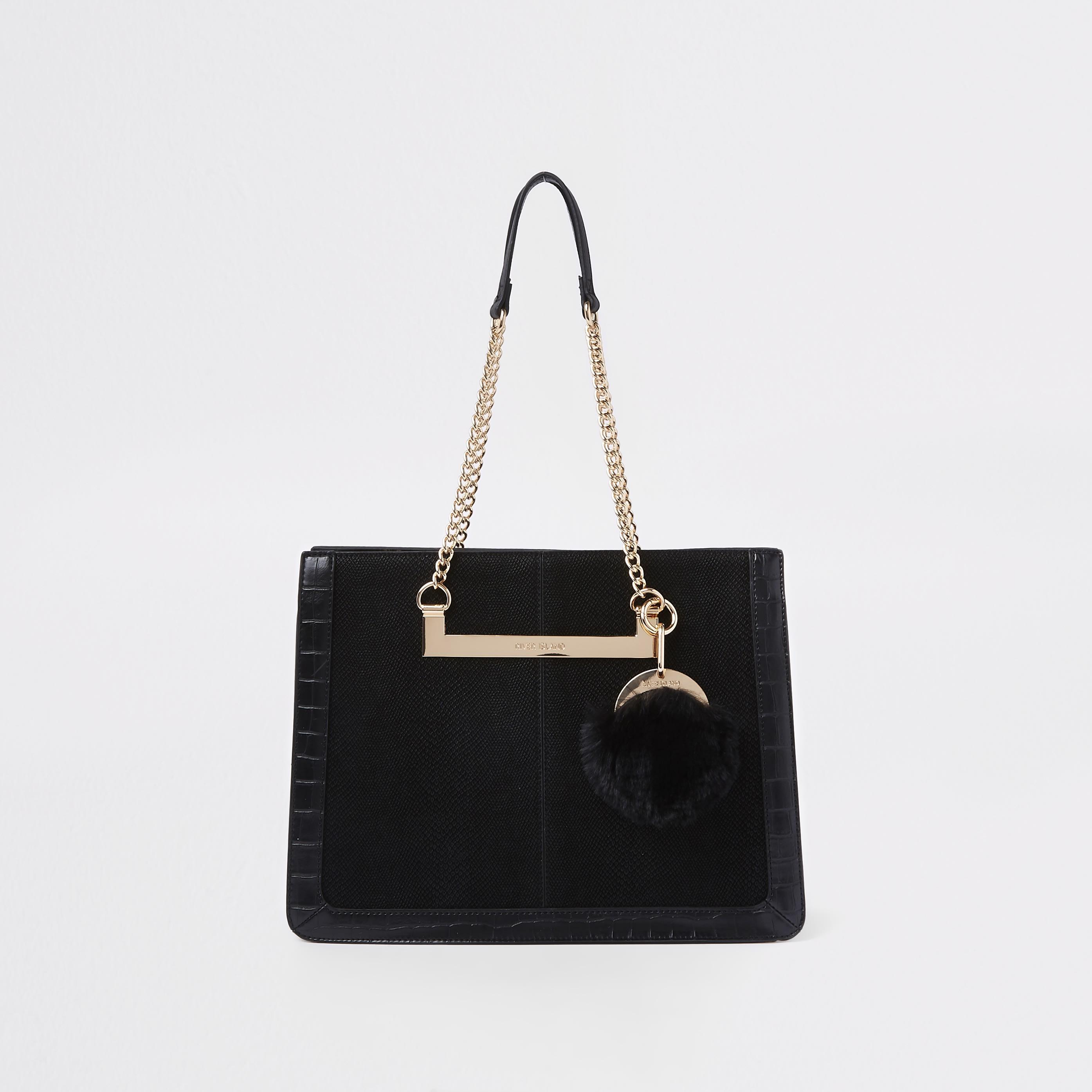 RIVER ISLAND | Womens Black chain handle pom pom tote bag | Goxip