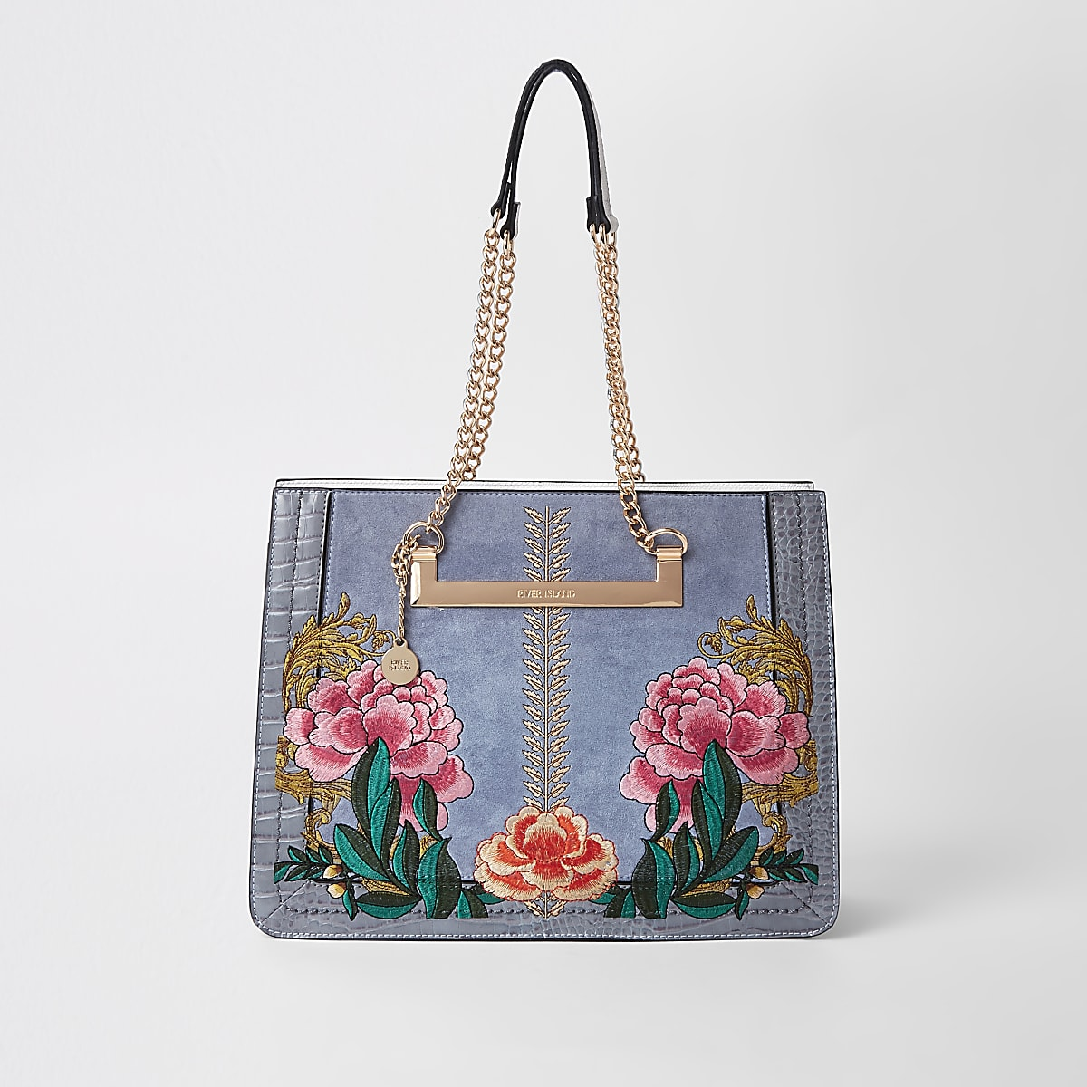 ce4161f7084ed9 Grey floral embroidered tote bag Grey floral embroidered tote bag ...