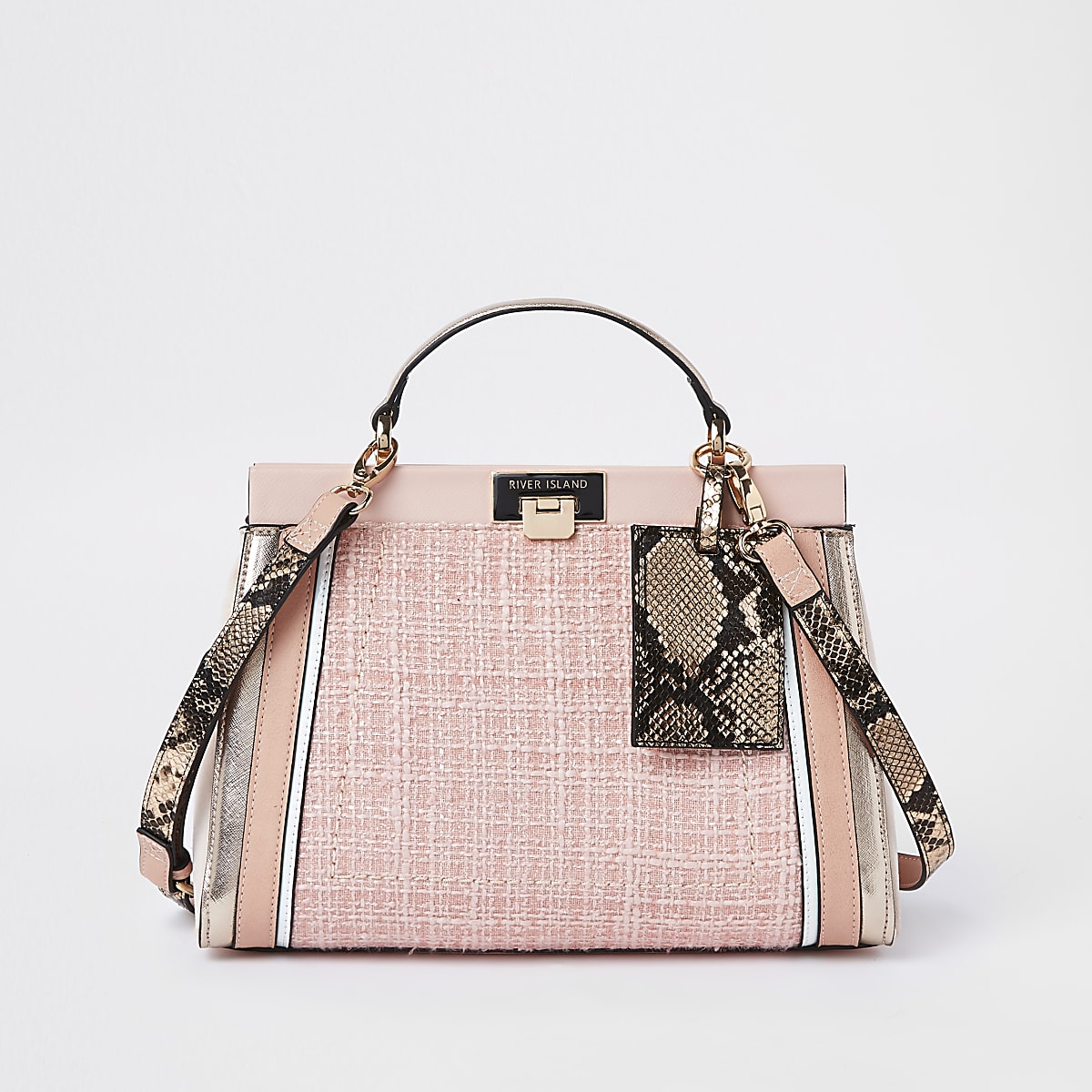 Pink boucle panel lock front tote bag