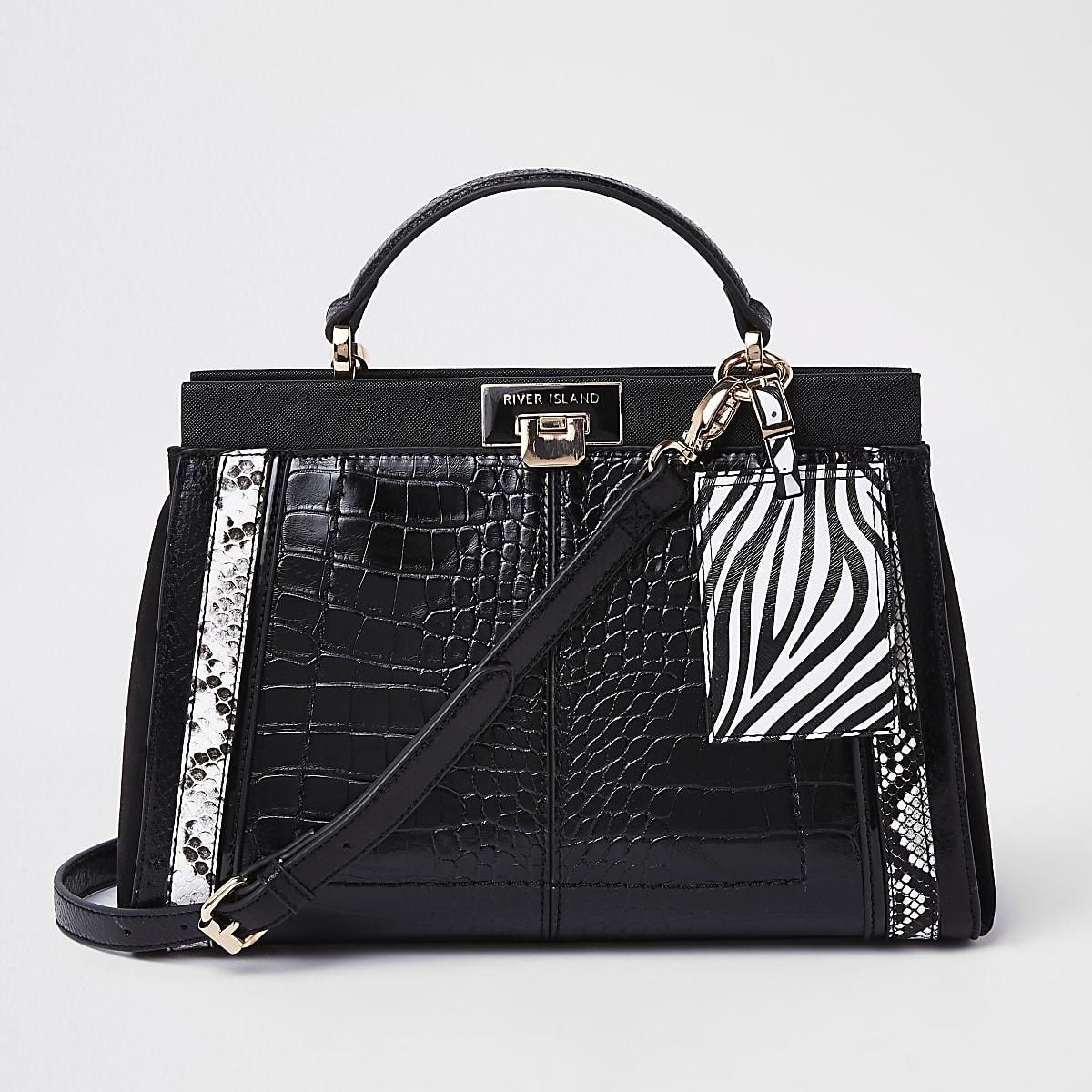 Schwarze Tote Bag in Kroko-Optik mit Animal-Print-Einsatz