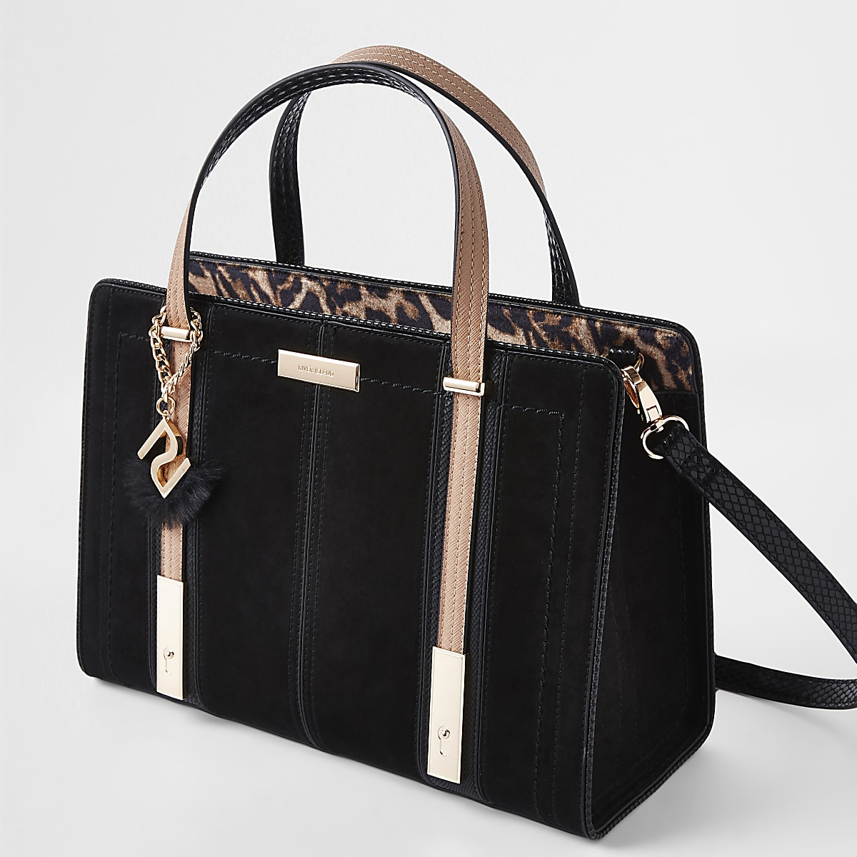 Black contrast RI leopard panel tote bag