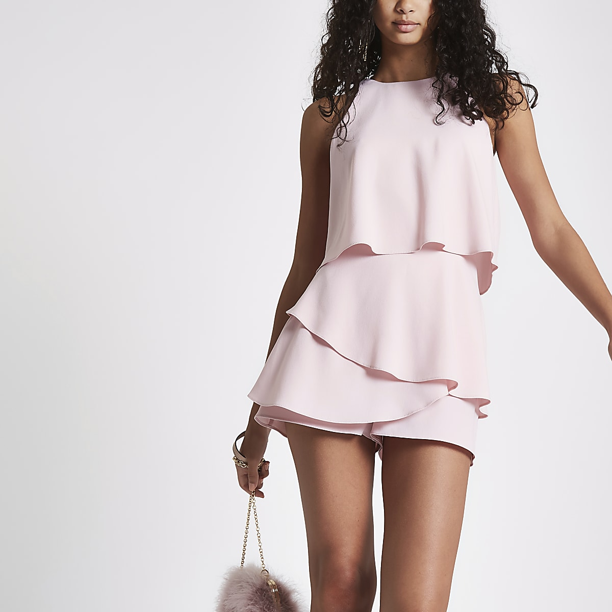 Pink tiered frill playsuit