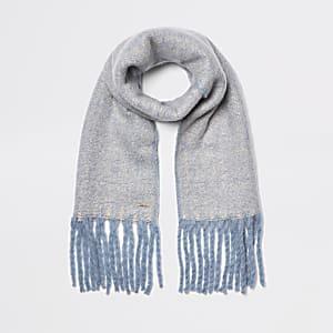 Écharpe bleu clair chiné duveteuse