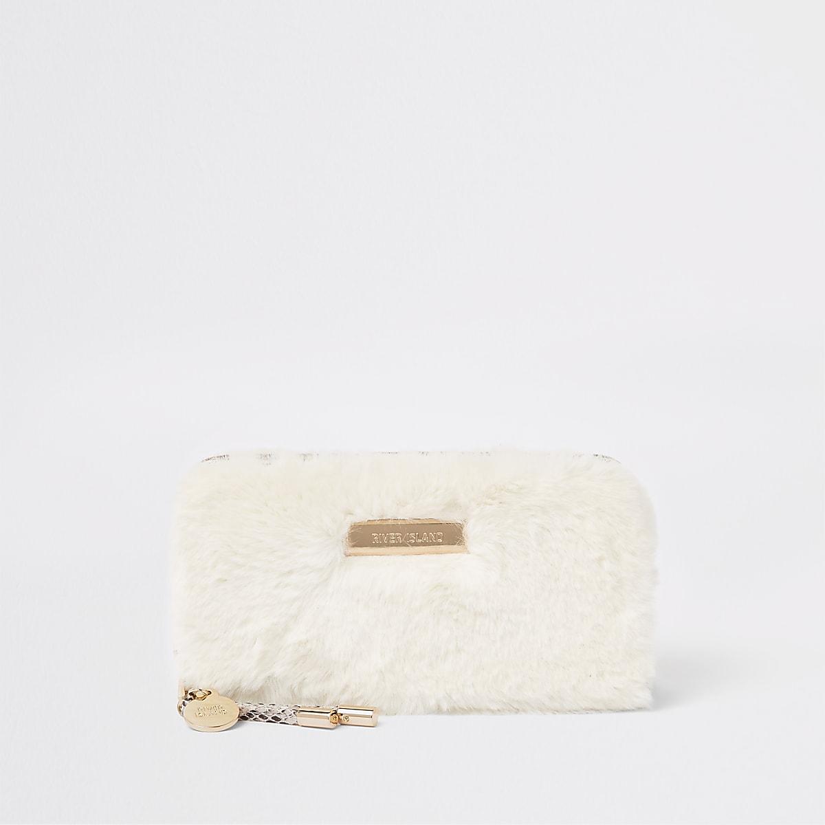 Cream faux fur zip around purse
