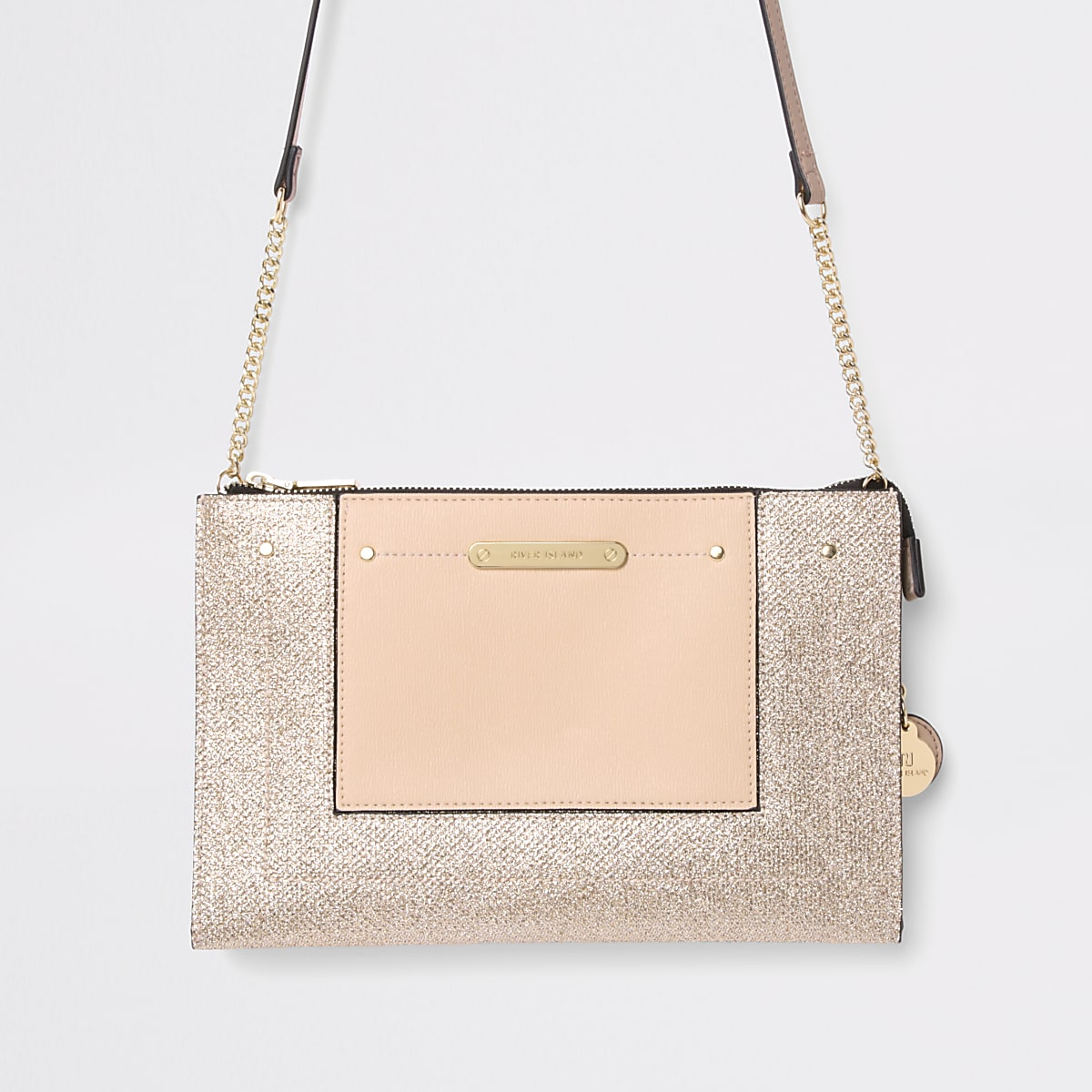 Gold embossed glitter cross body bag