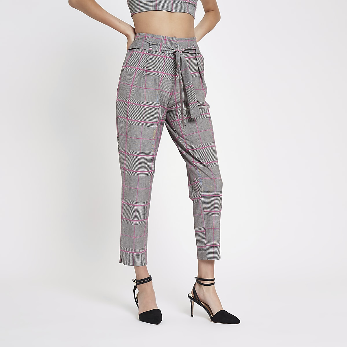 Pink check tapered pants