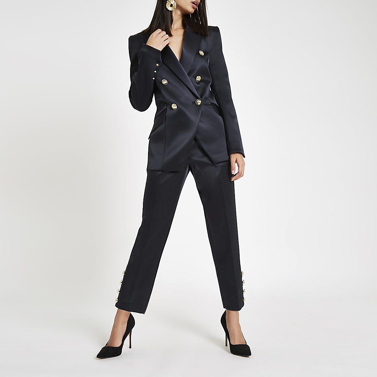 Navy satin peg trousers