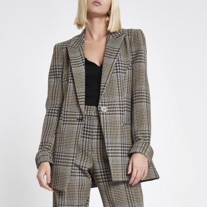 Brown check print velvet stripe fitted blazer