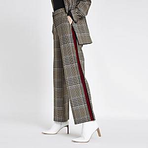 Brown side stripe straight leg trousers