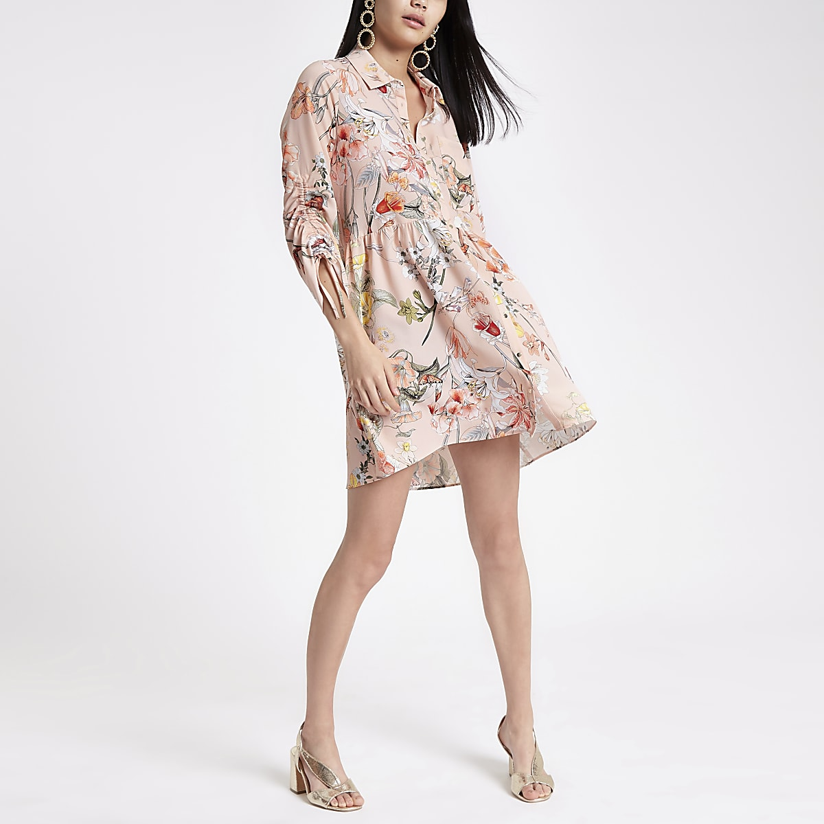 Pink floral ruched sleeve shirt dress