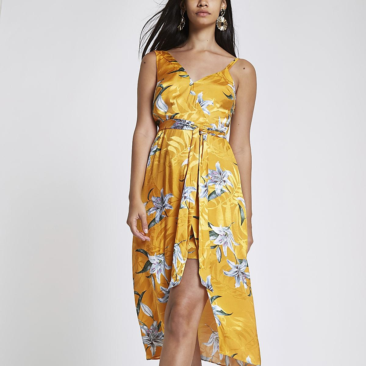 Yellow floral print tie waist midi dress