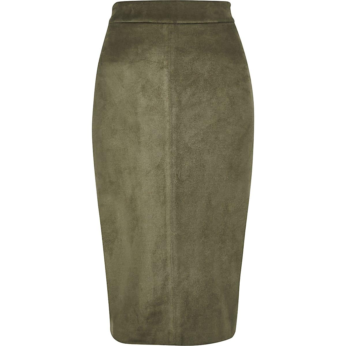 Suede Khaki Women Pencil Skirt Skirts Faux Midi YfyIv6b7g