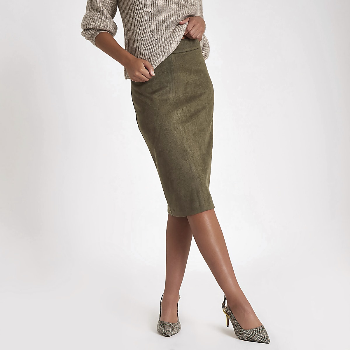 dc53e8665 Khaki faux suede pencil skirt - Midi Skirts - Skirts - women
