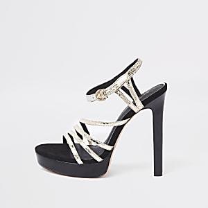 Sandales plateforme noires métallisées à brides