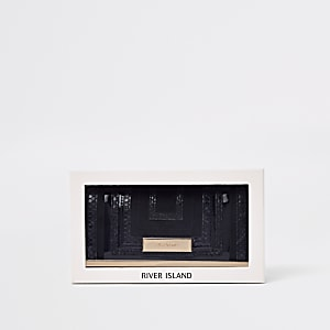 Coffret-cadeau avec porte-monnaie noir à découpe et fermoir clip