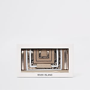 Coffret-cadeau avec porte-monnaie beige à découpe et fermoir clip