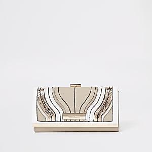 Porte-monnaie crème motif vague à fermoir clip