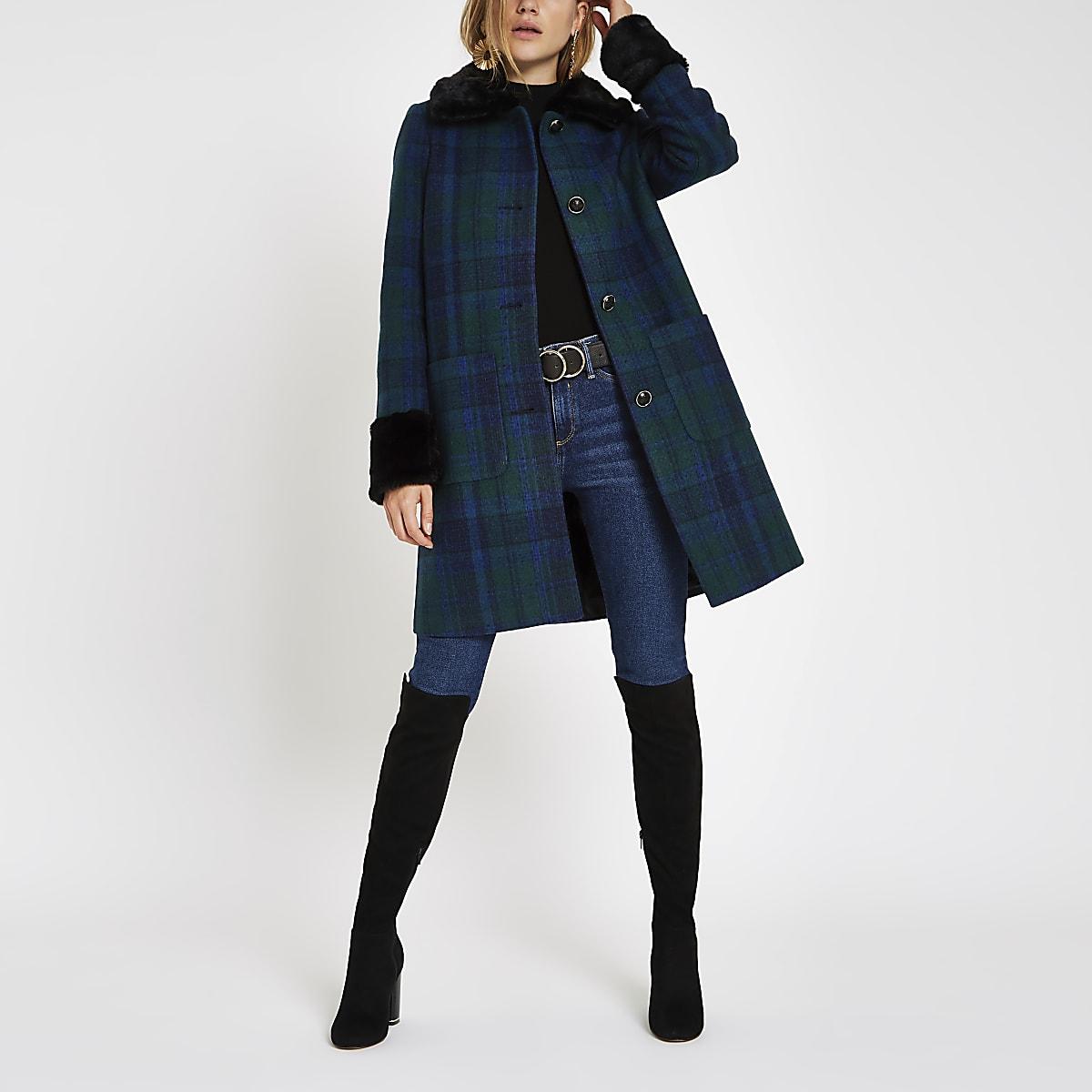 Blauwe geruite jas met knopen en rand van imitatiebont
