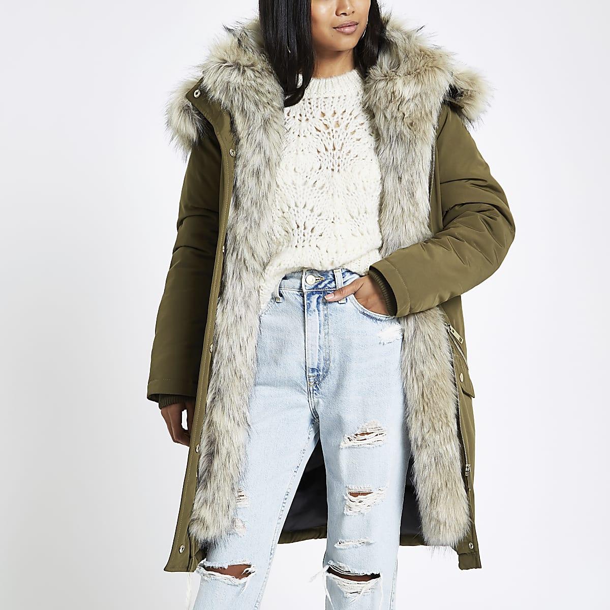 Petite khaki faux fur hooded parka
